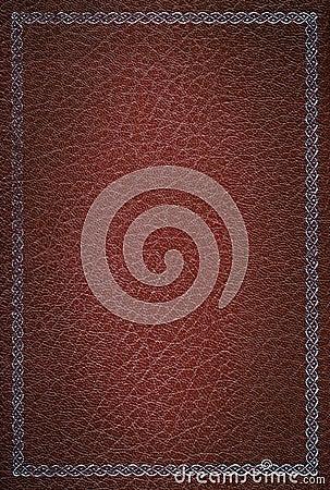 Textura de couro vermelha velha com frame de prata
