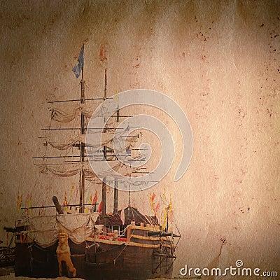 Textura velha do papel do grunge do navio da vela