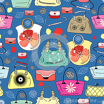 Texture of bright handbags