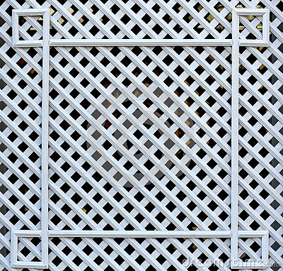White wooden, square lattice. Texture of cells Stock Photo