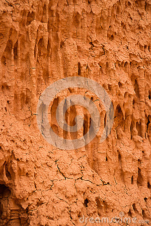 Texture of the crackled red clay