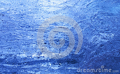 Texture of ice  with dark blue back light.