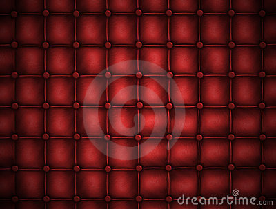 Texture leather quilted a sofa. Red color