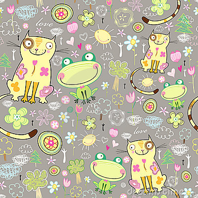 Texture of the love of cats and frogs