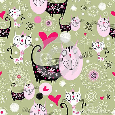 Texture with lovers cats