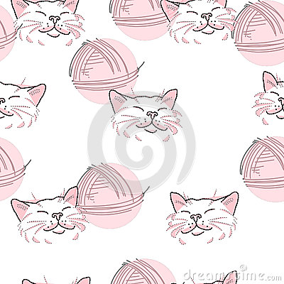 Texture, pink cat and ball of threads