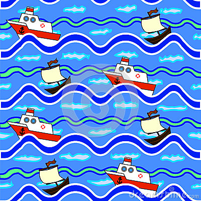 The texture of the sea floating ships Vector Illustration