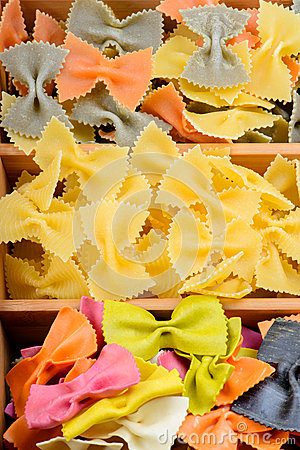 Texture from three different farfalle pasta