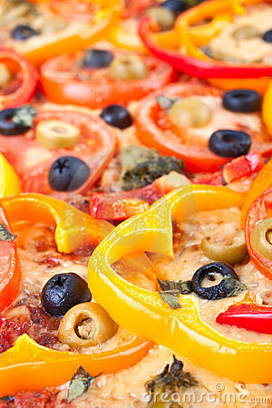 Texture of a vegetable pizza
