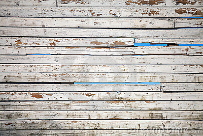 Texture of white weathered wooden lining boards