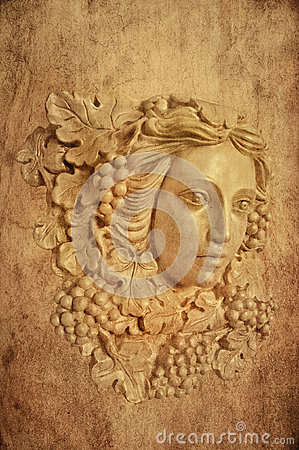 Free Textured Background Of Grape Haired Greek Woman Sconce Statue Stock Photos - 69376643