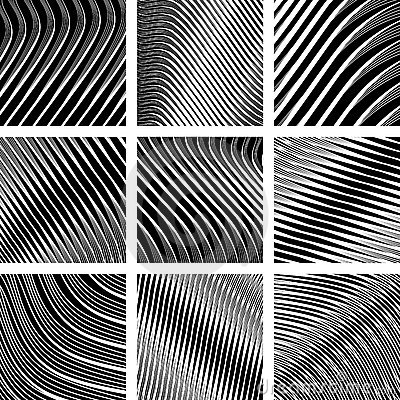 Textured backgrounds set. Op art.