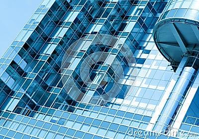 Textured glass wall, modern skyscraper
