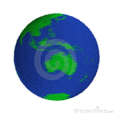 Textured green and blue globe