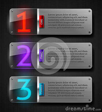 Textured metal banners with luminous numbers