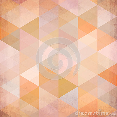 Textured vintage beige vector triangles background