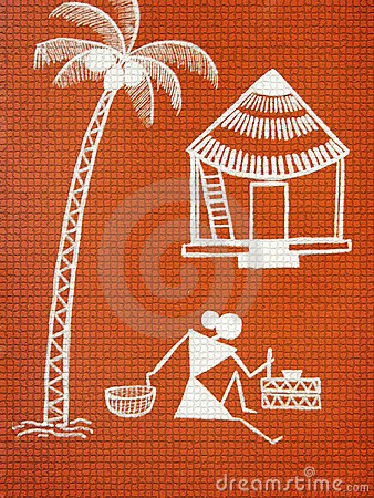 Picture Nature on Textured Warli Painting Royalty Free Stock Photo   Image  13858995