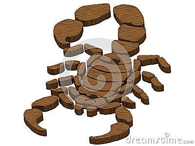 Textured wooden scorpion