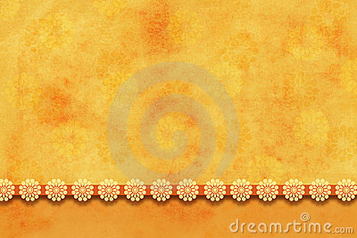 Textured yellow-orange background with flowers