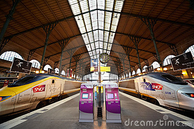TGV trains at platform of Gare de l Est Editorial Photo