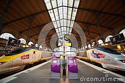 TGV trains at platform of Gare de l Est Editorial Photo