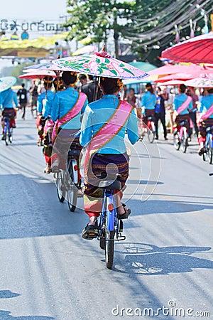 30th anniversary Bosang umbrella festival in Chiangmai province of Thailand Editorial Stock Photo