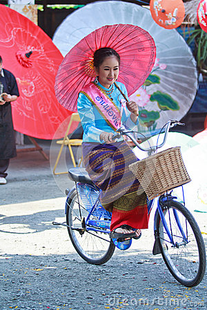 30th anniversary Bosang umbrella festival in Chiangmai province of Thailand Editorial Photo