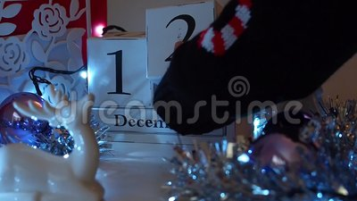 12th December date blocks advent calendar stock video footage