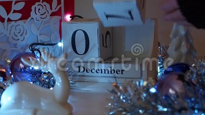 9th December date blocks advent calendar stock video