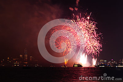 4th of July Fireworks in New York Editorial Stock Photo