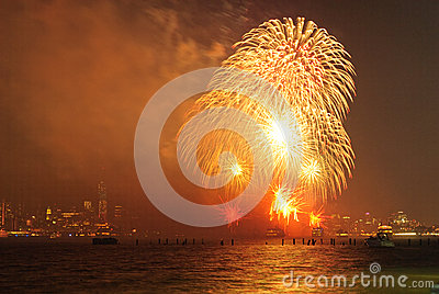 4th of July Fireworks in New York Editorial Stock Image