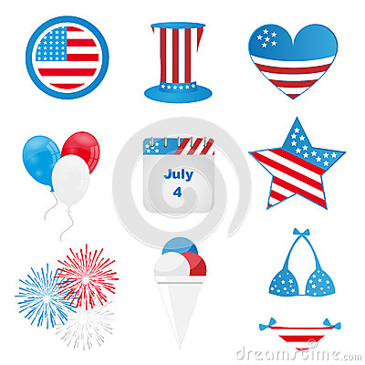 4th of july icons Vector Illustration