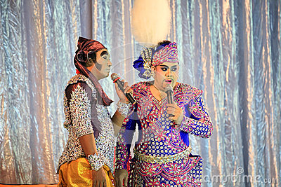 Thai actors show Musical folk drama Editorial Stock Photo