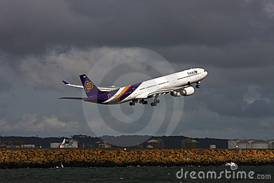 Thai Airways Airbus A340 jet taking off Editorial Photography