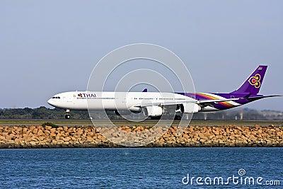 Thai Airways Airbus A340 jet taking off Editorial Stock Photo