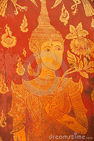 Thai ancient art painting on the wooden door