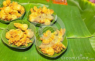 Thai ancient dessert called Toong Thong