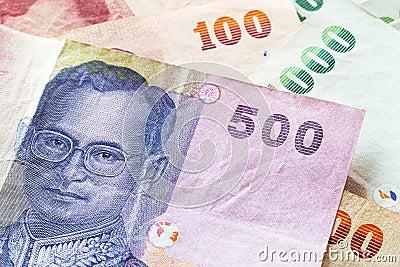 Thai baht money banknotes