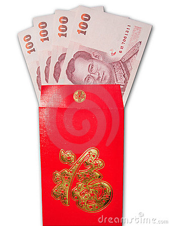 Thai Banknotes in chinese style red envelope