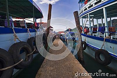 Thai boats near the pier