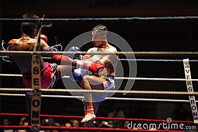 Thai boxers on ring Editorial Stock Photo
