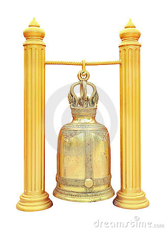 Thai brass bell in the temple isolated on white