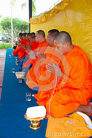 Thai Buddhist Monks Praying Editorial Photo