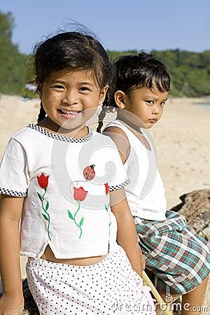 Thai children on the beach