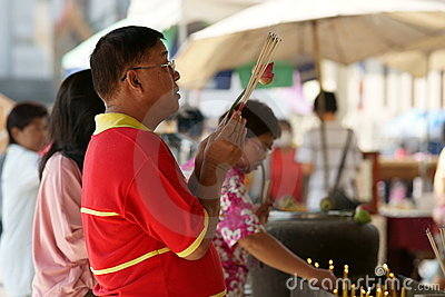 Thai Chinese People praying Editorial Stock Photo