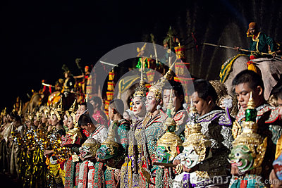 Thai classical masked ballet and Thai historical a Editorial Stock Image