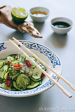 Free Thai Cucumber Salad With Sesame And Chili Stock Image - 98199041
