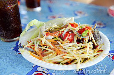 Thai cuisine - hot and spicy papaya salad