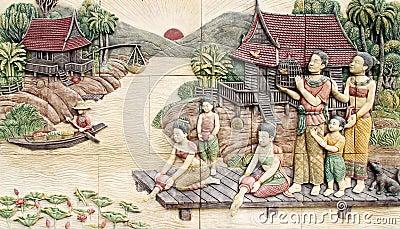 Thai culture stone carving