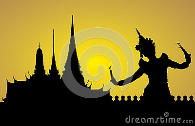 Thai dance woman with temple